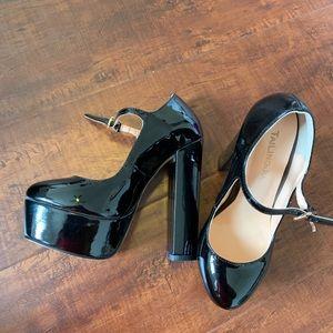 Black Patent Platform Mary Jane Pumps